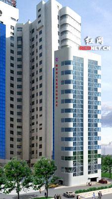 车库效果图:省人民医院住院大楼右侧单体建筑即为可停25层